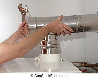 condensing, caldeira, ventilação