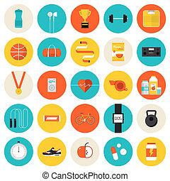 condicão física, apartamento, jogo, desporto, ícones