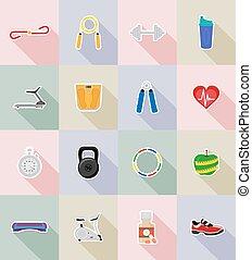 condicão física, apartamento, vetorial, ilustração, ícones