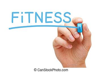 condicão física, azul, marcador