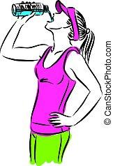 condicão física, bebendo, vetorial, ilustração, mulher