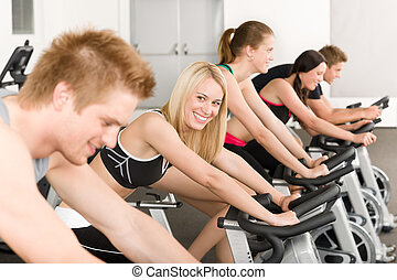 condicão física, bicicleta ginásio, grupo, pessoas