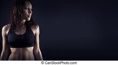 condicão física, bonito, corporal