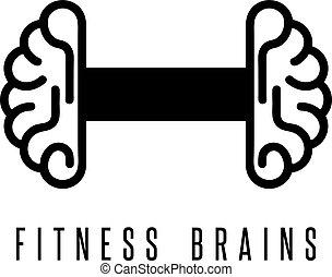 condicão física, cérebros, vetorial, ilustração, barbell