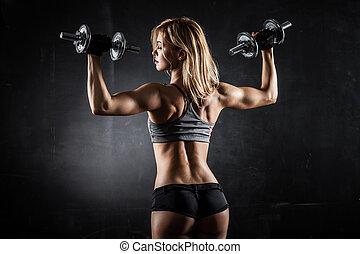 condicão física, com, dumbbells