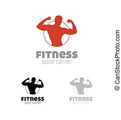 condicão física, desporto, centro, logotipo