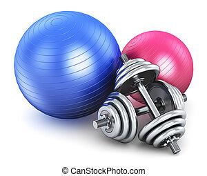 condicão física, e, equipamento esportes