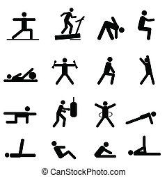 condicão física, e, exercício, ícones