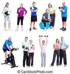 condicão física, e, gym.