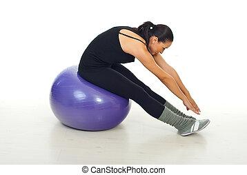 condicão física, femininas, fazendo, exercício