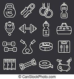 condicão física, ginásio, vetorial, linha, ícones