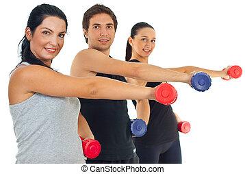 condicão física, grupo, levantamento, barbell