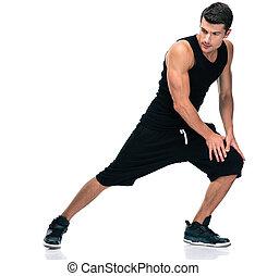 condicão física, homem, esticar, pernas