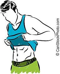 condicão física, homem, mostrando, abdominal, muscl