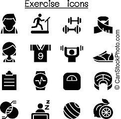 &, condicão física, jogo, exercício, ícone