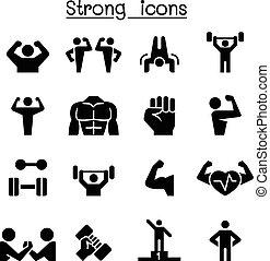 condicão física, &, jogo, forte, ícone