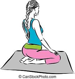 condicão física, meditação, vetorial, ilustração, mulher