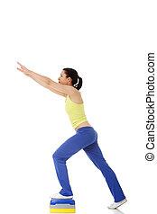 condicão física, menina, é, trabalhar, com, stepper