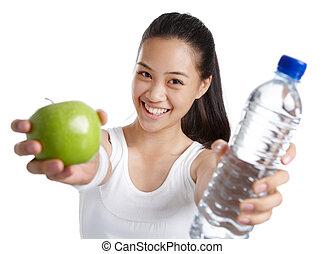 condicão física, menina, com, alimento saudável