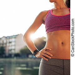 condicão física, modelo, adelgaçar, torso