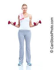 condicão física, mulher, com, dumbbells., sport.