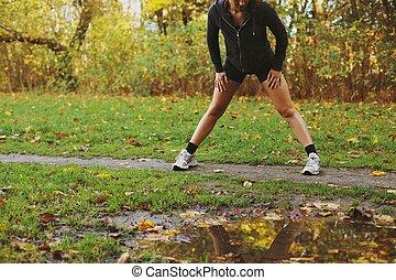 condicão física, mulher, exercitar, ao ar livre