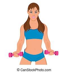 condicão física, mulher, exercitar, desporto