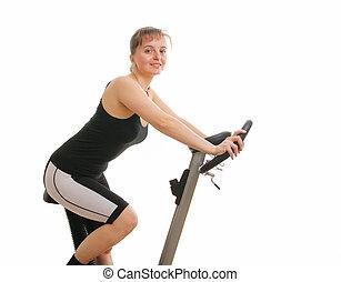 condicão física, mulher, exercitar, ligado, girar, bicicleta, de, costas, -, isolado