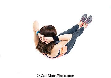 condicão física, mulher, fazendo, exercícios abdominais