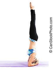 condicão física, mulher, fazer, estiramento, ligado, ioga, e, pilates, pose