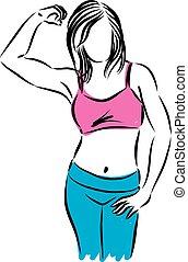 condicão física, mulher, forte, gesto, illust