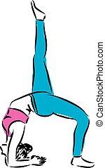 condicão física, mulher, ilustração, esticar