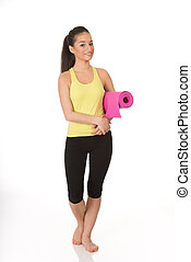 condicão física, mulher, pronto, segurando, ioga, mat.