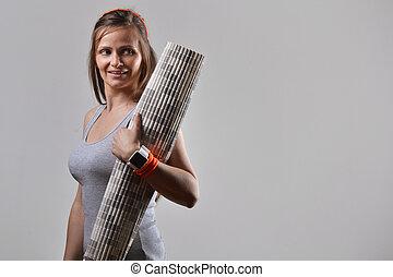 condicão física, mulher, tapete, exercício, segurando