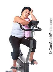 condicão física, para, gorda, mulher