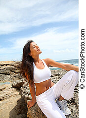 condicão física, pedras, mulher, equipamento, sentando