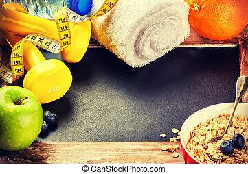condicão física, quadro, com, dumbbells, e, fresco, fruits., estilo vida saudável, conceito