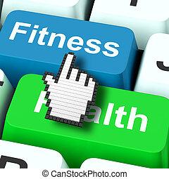 condicão física, saúde, computador, mostra, estilo vida saudável
