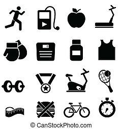 condicão física, saúde, e, dieta, ícones