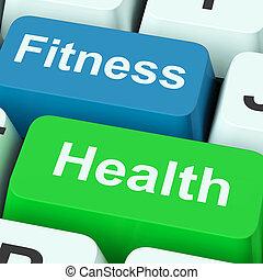 condicão física, saúde, teclas, mostra, estilo vida saudável