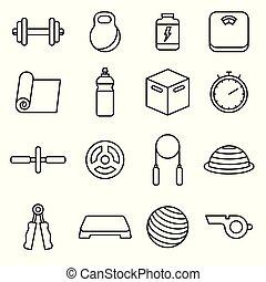 condicão física, set., vetorial, esboço, ícones