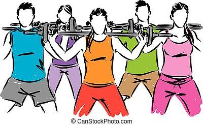 condicão física, vetorial, grupo, ilustração, pessoas