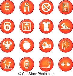 condicão física, vetorial, jogo, ícones