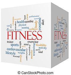 condición física, 3d, cubo, palabra, nube, concepto