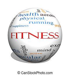 condición física, 3d, esfera, palabra, nube, concepto