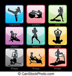 condición física, botones, conjunto