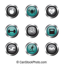 condición física, botones