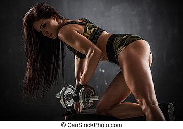 condición física, con, dumbbells