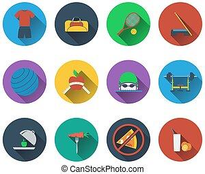 condición física, conjunto, iconos