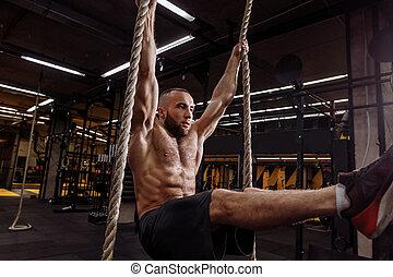 condición física, ejercicios, en, sogas, .making, ideal, cuerpo